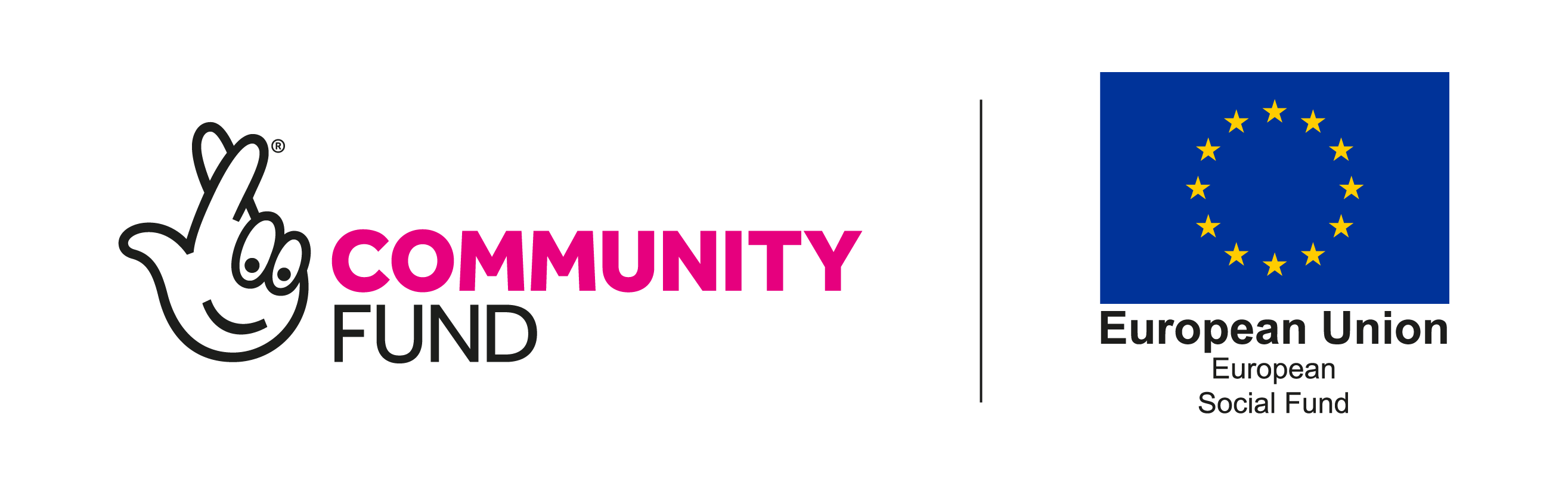 Logo for National Lottery Community Fund and European Social Fund